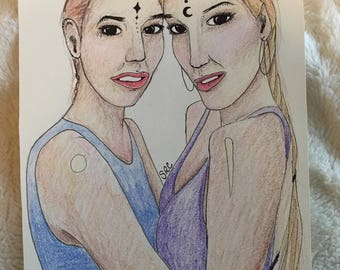 Original Drawing - Twin Flames