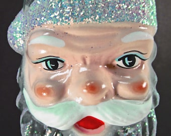 Glass 578 Ornament Santa Face 5-1/2' Detail Painted Glittered Clear Glass