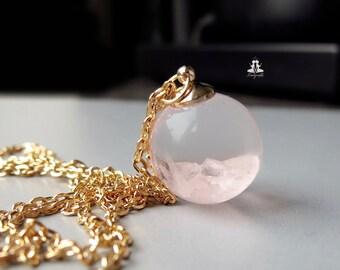 Terrarium Necklace - Rose Quartz in the water
