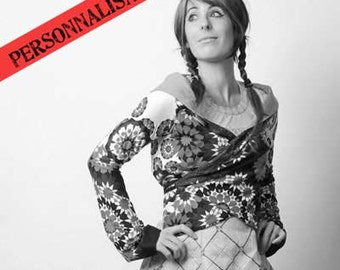 CUSTOM Long sleeved wrap cardigan - Jersey wrap shrug, convertible sweater, Your choice of fabric, MALAM