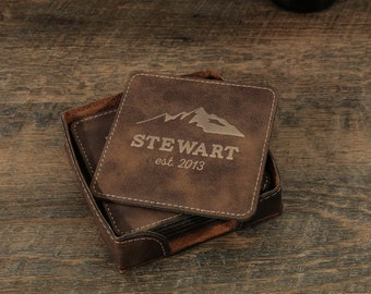 Personalized Mountain Coaster Set, Custom Coasters, Mountain Decor, Engraved Coasters, Personalized Wedding Gift, Rustic Coasters