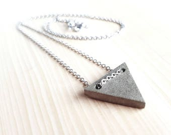 Concrete triangle sterling silver necklace