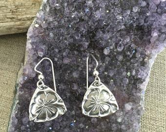 Hibiscus Fine Silver Earrings