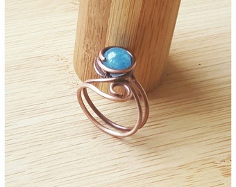 Wire wrapped ring, angelite ring, copper wire ring, wire angelite ring, angelite jewelry, birthstone ring, gemstone ring