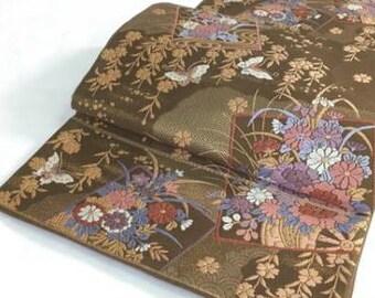 Japanese silk Brown Obi (karabori)