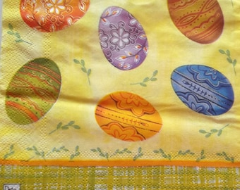 12 napkins - theme decorated egg color is yellow REF.