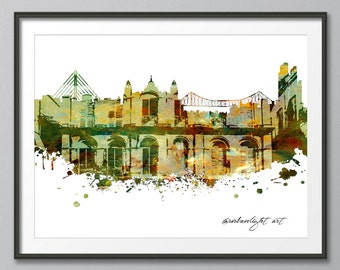 Calcutta, Calcutta Skyline, India, Architecture,  Print, Poster, Modern Art, Painting, Prints, Watercolour Skyline, Wall Art, Watercolor