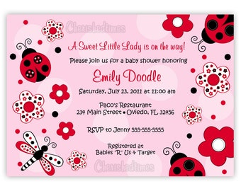 Ladybugs And Flowers Baby Shower Or Birthday Party Invitation (Digital File)