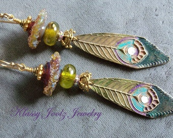 White Copper PMC Peacock Feather Charms and Glass Lampwork Earrings-Artisan Earrings-Artisan Lampwork-Victorian, Boho Earrings-SRAJD