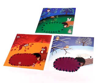 "Set of 3 Cute Animal Prints - 8"" square nursery art. Season landscapes of winter, spring and autumn scenes with squirrels, rabbits and robin"