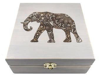 Spirit Animals - Elephant - Essential Oil Storage Box 25 Slot 15ml - Pine - Choose Color & Custom Laser Engravings - Fits All Major Brands