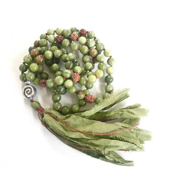 Calming Jade Mala Beads, Rudraksha And Jade Mala Necklace, 108 Beads Mala, Earthy Meditation Mala, Unique Mala Gift Idea, Gemstone Mala
