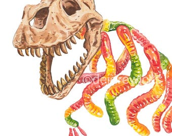 Dinosaur Watercolor Painting - Fine Art Print, Gummy Worms, Food Art, T Rex, Candy Watercolour, Nursery Art, Dino Lover Gift