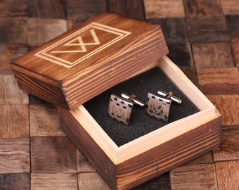Personalized Men's Square Classic Cuff Links Monogrammed Engraved Groomsmen, Best Man, Father's Day Gift