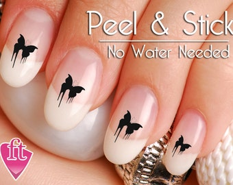 Black Dripping Butterfly Emo Nail Art Decal Sticker Set BFY103