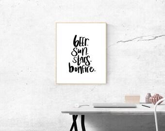 Beer. Sun. Stars. Bonfire. Instant download. Digital hand lettered prints.