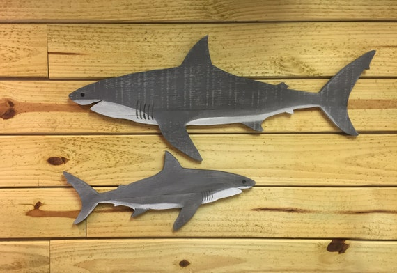 Wood Shark Sign Rustic wooden shark reclaimed wood shark