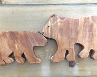 Wooden toy for pretend play Mama and Baby Bear