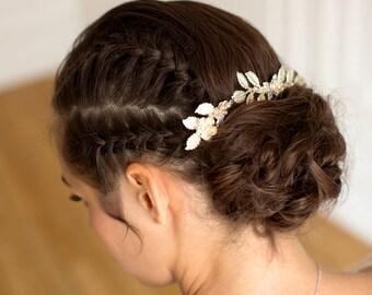 Silver Wedding Hair Accessory, Astride, Leaf Hair Vine Headpiece Bridal Hair Comb Swarovski Golden Shadow Crystal Bridal Hair Accessory