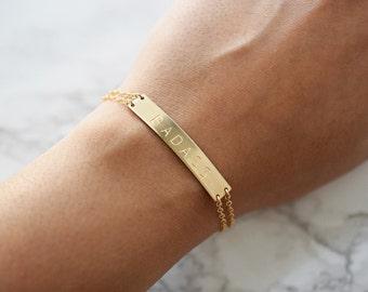 Badass Bracelet, Large Gold Bar Bracelet, Mantra Bracelet, Inspiration, Personalized or Blank Gold Bar Bracelet, Name Bracelet, Short Phrase