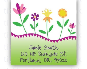 Personalized Return Address Labels with pretty spring flowers
