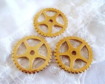Gold Plated Gear, Steampunk Watch Piece, Cog Wheels, Extra Large Gear Cog Pendant, Steampunk Supplies, Industrial Chic, 50,5mm- 1 piece