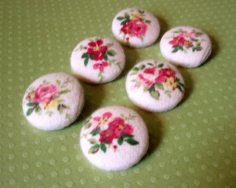 Buttons - Rose Bunches Flannel Fabric-Covered Buttons - Romantic Roses Fabric Button Set - Pink Covered Buttons - Feminine Cottage Roses