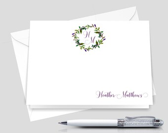 Monogrammed Stationery Set , Custom stationary, personalized Stationery_ Set of 12 with Envelopes _ Signature Collection _ HWM019