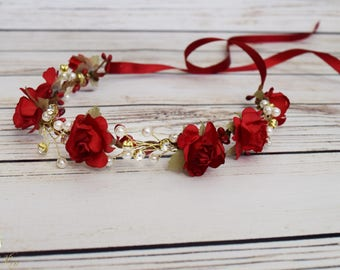 Handcrafted Red Pearl and Rhinestone Rose Flower Crown - Christmas Flower Crown - Flower Girl Crown - Red Bridal Flower Crown - Red Headband