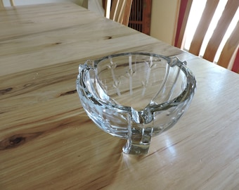 Art Deco Bowl-shaped Ashtray, Vintage Etched Glass Ashtray, Heavy Bowl-like Glass Ashtray with Floral Etching