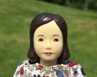 Hitty Friend Emily Hand Carved Wood Folk Art Doll OOAK Handmade Wooden by April Queen