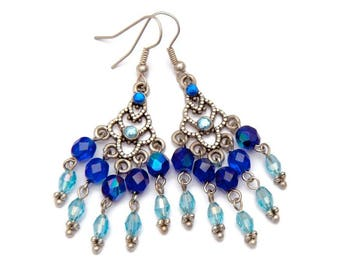 Earrings drop blue chandelier