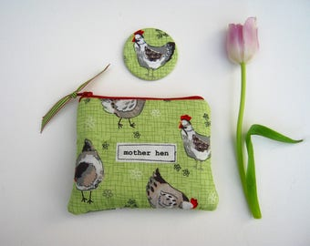 Mother Hen handmade purse, make up bag, Mother's Day gift, gift for mum, hen party, hen keeper, chickens, quirky pouch, mirror