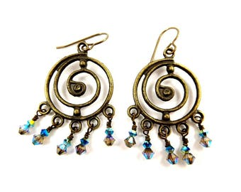 Boho Spiral Earrings, Round Antique Brass Crystal Chandeliers with a Little Something Blue