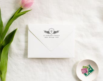 Personalized Monogram Address Stamp, Crest Return Address Stamp, Custom Rubber Stamp, Wedding Stamp, Self Inking Stamp, Easter Gift