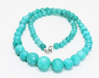 ON SALE Amazonite Quartz Beaded Necklace, blue stones necklace, Amazonite quartz necklace/ 6-12 MM 18 inches ready to wear Necklace