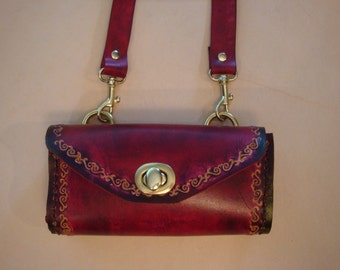 Tara Tooled Red Leather Crossbody Bag - Shoulder Purse - Mini Handbag - Scroll Pattern