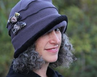 Ladies Fleece Hat - Flapper Cloche -  Grey with velvet bows - Emma Rose