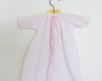 Vintage White and Pink Cotton Newborn Dress or Nightgown