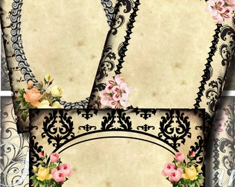 Flowered Journaling Spots Digital Collage Scrapbooking ATC ACEO Backgrounds Vintage Jewelry Cards Tags Printable Download