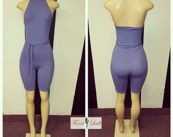 Lilac Biker short jumper w/ belt