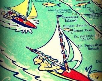 Vintage Florida Map Art, St Petersburg Map Art 8x10 sailboat art for boys room, Treasure Island, St Pete Gifts