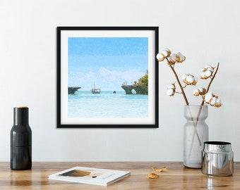 Beach House Decor, Beach Photography, Seaside Art, Ocean, Nautical Fine Art Print. Zanzibar.