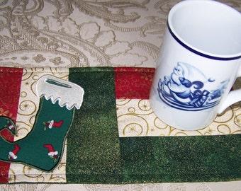 CHRISTMAS - STOCKING - Applique Quilted Mug Rug PDF E-Pattern