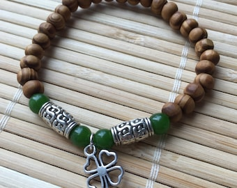 Lucky Irish Four Leaf CloverBeaded Wrist Mala Bracelet Stacking Gemstone Jewelry Natural Wood and Jade