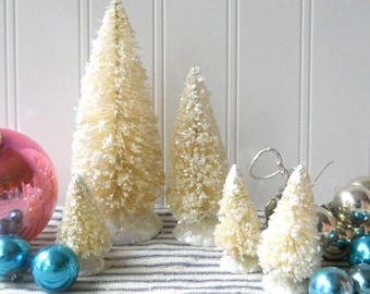 5 bottle brush trees Cream Winter White Vintage Style Frosted Glittered Mica Christmas Decor Cottage Chic