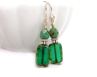 Emerald Green Earrings - Picasso Rectangle Czech Glass - Simple Petite Earrings - Yoga Jewelry