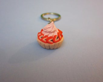 Strawberry Pie Keychain, Food Keychain, Polymer Clay Food