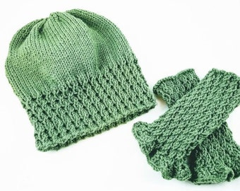 Celtic Twist Slouchy Hat and Wrist Warmer Set - St Patrick's Day Beanie - St Patrick's Day Hat - Irish Beanie - Boho Slouchy Hat-Wristwarmer