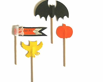 Halloween Cup Cake Toppers,Halloween Treat Toppers,Bat Topper,Owl Toppers Pumpkin Toppers,Halloween Cupcake Toppers, Halloween Decorations